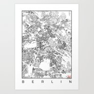Art Print featuring Berlin Schwarzplan by City Map Art
