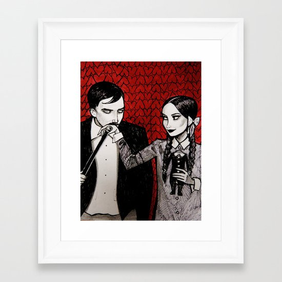 Morticia & Gomez Adams Framed Art Print
