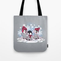 Snow Penguins Tote Bag