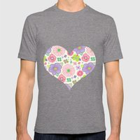 happy flowers Mens Fitted Tee Tri-Grey SMALL