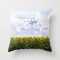 Sunflower Delight - Psal… Throw Pillow