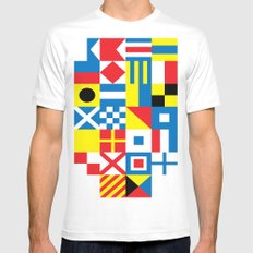 International Alphabetical Marine Signal Flags White SMALL Mens Fitted Tee