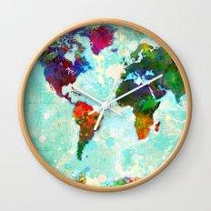 Abstract Watercolor World Map Wall Clock