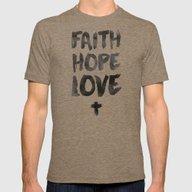 Faith Hope Love Mens Fitted Tee Tri-Coffee SMALL