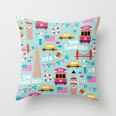 San Francisco travel - Retro style illustration pattern Throw Pillow