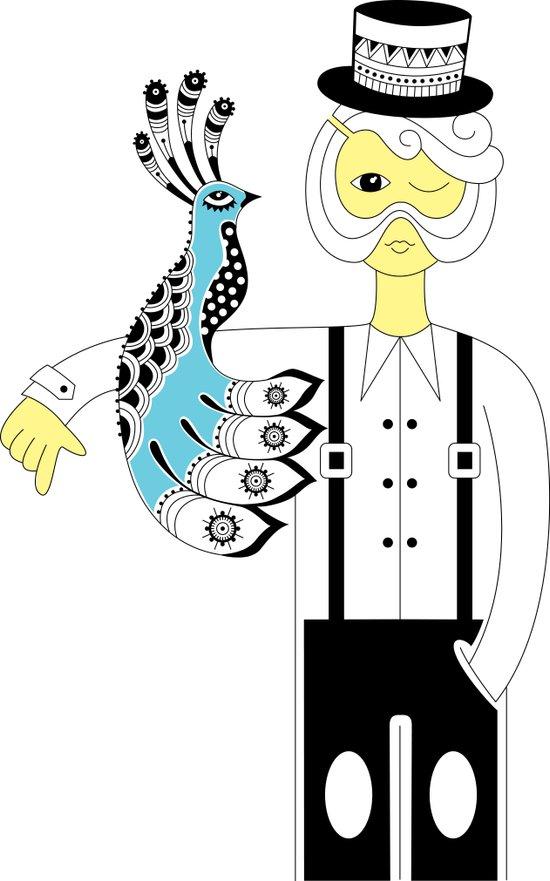 Man and the bird Art Print