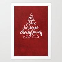 Joy, Hope, Peace, Believe, Christmas Art Print