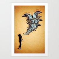 Boy Blowing Butterflies Art Print