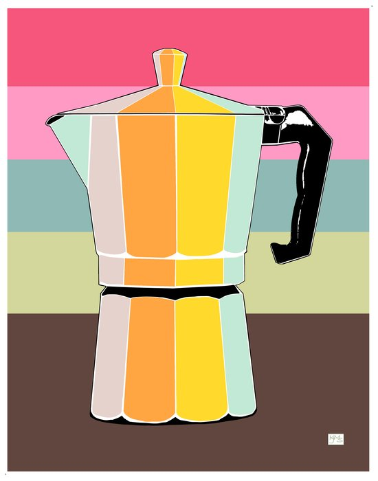 Retro Espresso Pot on Striped Conch Background Art Print