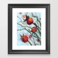 Rose Hips Abstract Watercolor Framed Art Print