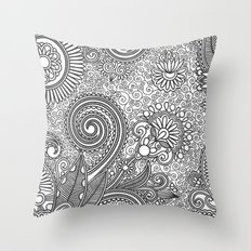 Floral B&W Throw Pillow