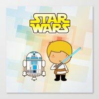 Luke Skywalker and R2D2 Canvas Print