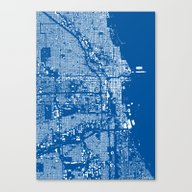 Chicago Map Blue Canvas Print