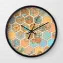 Golden Honeycomb Tangle - hexagon doodle in peach, blue, mint & cream Wall Clock