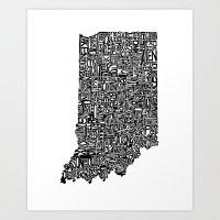 Typographic Indiana Art Print