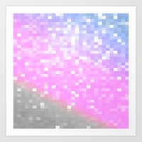 pixel Art Prints featuring Pink Lavender Gray Pixels by WhimsyRomance&Fun