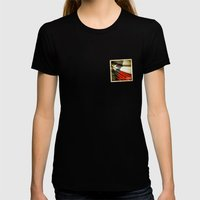 Grunge sticker of Texas (USA) flag Womens Fitted Tee Black SMALL