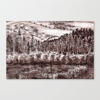 Sepia leads - landscape drawing Canvas Print