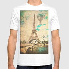 Vintage Eiffel Tower Paris SMALL Mens Fitted Tee White