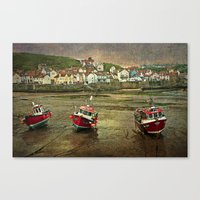Three Red Boats At Stait… Canvas Print