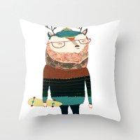 Deer, deer art, deer print, deer illustration,  Throw Pillow