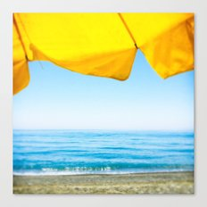 Yellow Beach Brolly with Blue Sea and Sky Canvas Print
