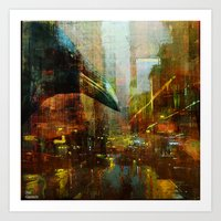 Crow In The Geometrical … Art Print