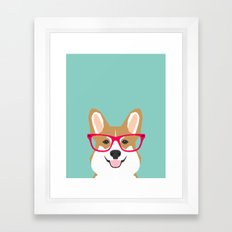 Teagan Glasses Corgi cute puppy welsh corgi gifts for dog lovers and pet owners love corgi puppies Framed Art Print