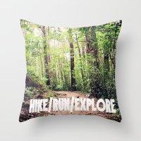 HIKE/RUN/EXPLORE Throw Pillow