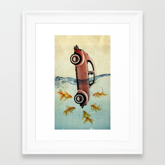VW beetle and goldfish Framed Art Print