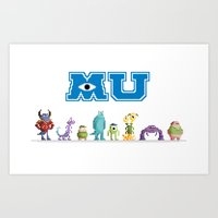 Pixel Monsters University Art Print