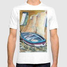 Italian Riviera Row Boat Mens Fitted Tee SMALL White