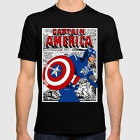 Captain 'merica Comic Mens Fitted Tee Black SMALL