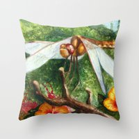 Amber Dragonfly Throw Pillow