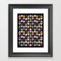 Diamond Hearts On Black Framed Art Print