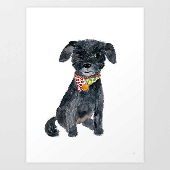 Sunday's Society6 | Art print of black dog illustration