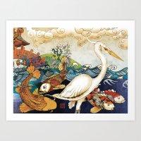 Koi & Egret Art Print