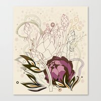 Peach And Purple  Artich… Canvas Print