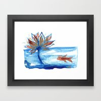 The Lotus And The Goldfi… Framed Art Print