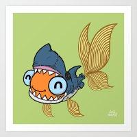 Goldfish in Shark Costume Art Print