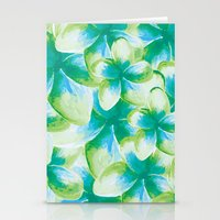 Blue Plumeria Floral Wat… Stationery Cards
