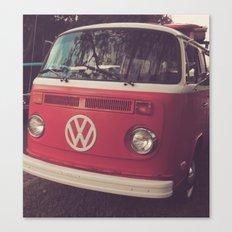 Volkswagen Bus Red & White Vintage Print Canvas Print