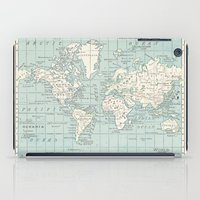 World Map in Blue and Cream iPad Case