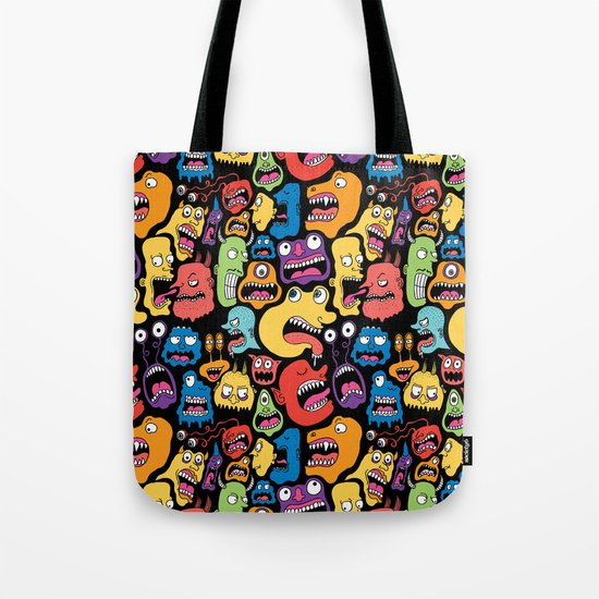 Monster Faces Pattern Tote Bag
