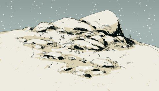 Landscape with snow Art Print