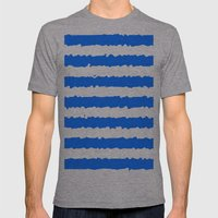 Blue Stripes Mens Fitted Tee Athletic Grey SMALL
