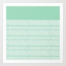 Herringbone Mint Boarder Art Print