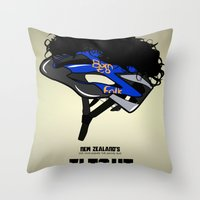 Throw Pillow featuring Flight of the Conchords - Hair Helmet by maclac