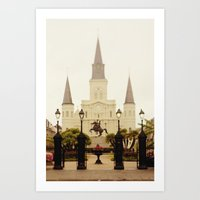 New Orleans Looking Through Jackson Square Art Print