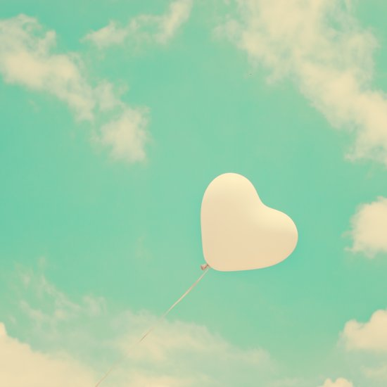 Sweet Love, Retro Heart Balloon in Green-Turquoise sky  Art Print